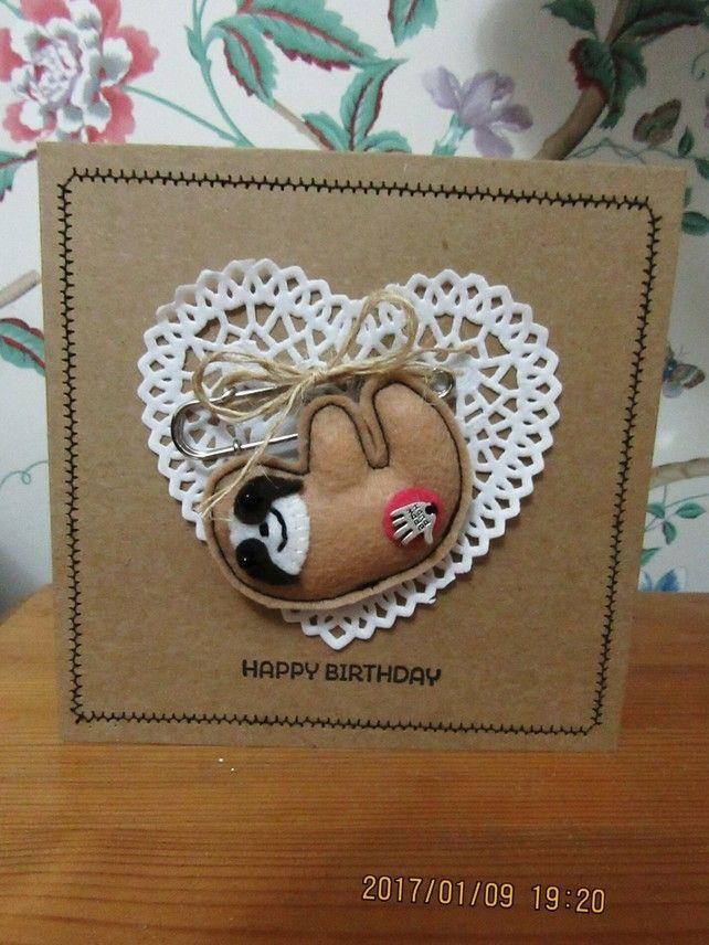 Hand crafted mini felt sloth brooch pin
