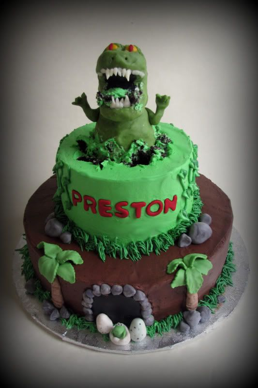 T-Rex cake.Could make the 2 tier and then stick a T-rex toy on top. going to try this for B-day cake.