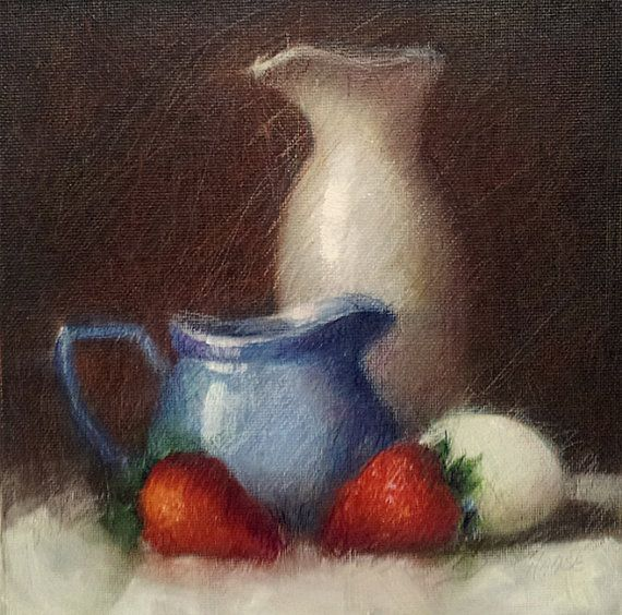 """Small Mixed Media Painting, Red, White and Blue, Daily Painting, Still Life, 8 x 8"""" Unframed Art"""