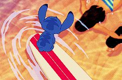 Ohana means family, family means nobody gets left behind, or forgotten. Stitch Disney movie swimming in Hawaii gif