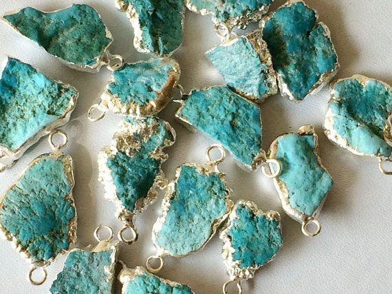 WHOLESALE 11 Pcs Raw Turquoise Connectors by gemsforjewels on Etsy