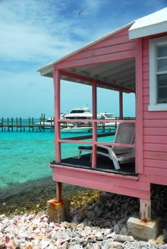 ....beach cottage ~ Bahamas  Conch shells under deck of pink cottage, Staniel Cay Yacht Club, The Exumas