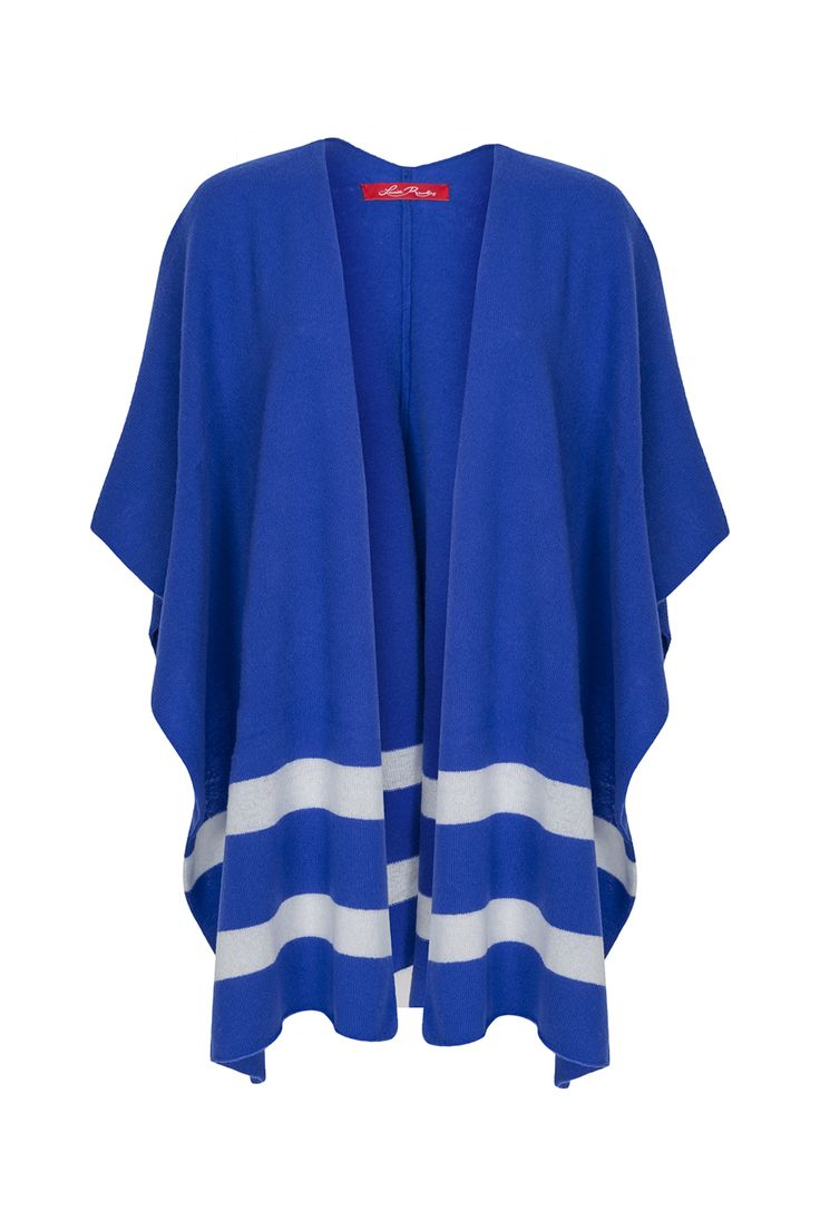 Spring Knitwear Royal Blue with White Stripes Blanket Shawl. Made in Ireland, Designed with LOVE! €299 on www.louiserawlins.ie