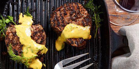 Summer Filet Mignon with a Dill Mustard Sauvignon Blanc Reduction