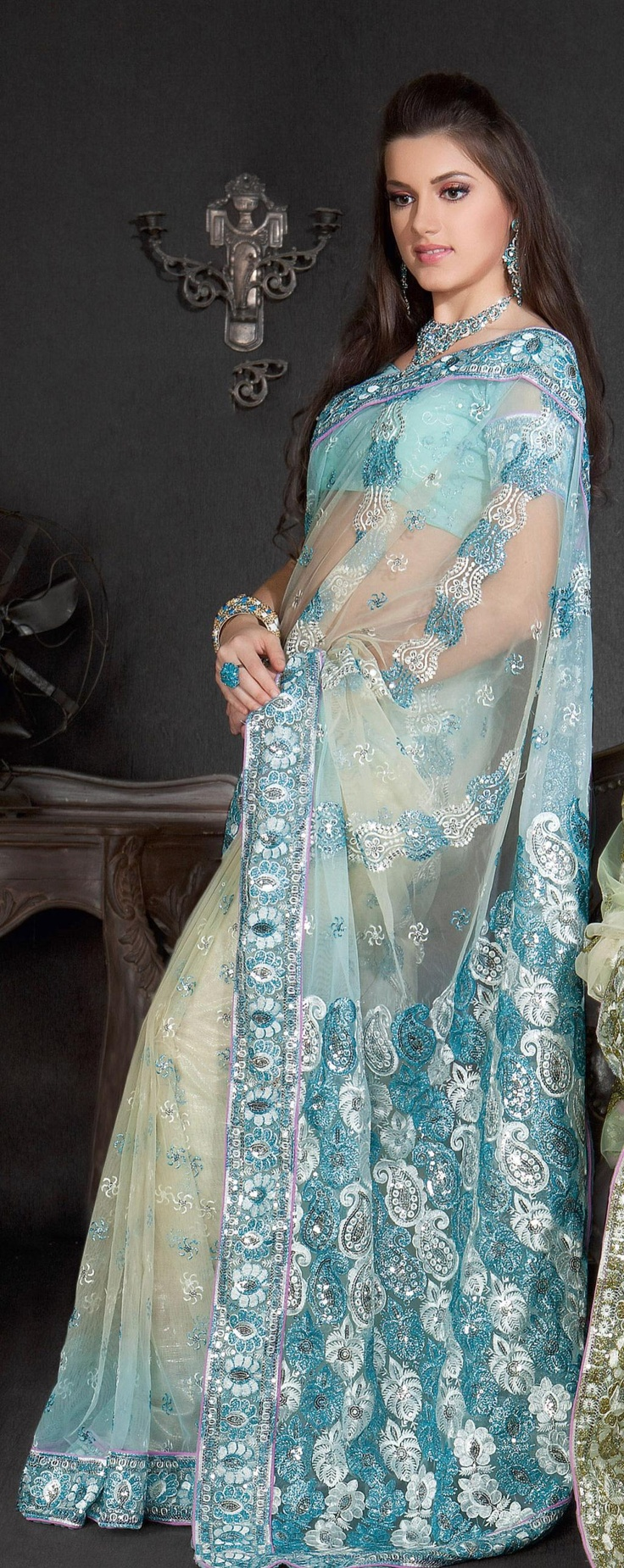 $63.70 Blue Net Saree 20870 With Unstitched Blouse