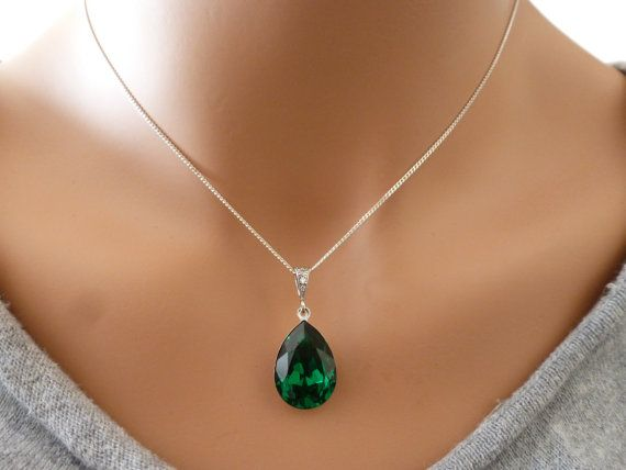 BLACK FRIDAY SALE Emerald Necklace Green Emerald NecklaceTeardrop Necklace Sterling Silver Necklace Wedding Jewelry