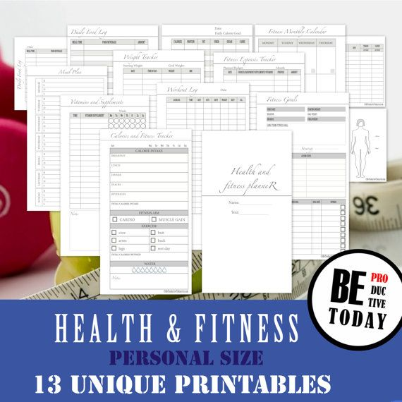 PERSONAL Inserts: Health and Fitness Planner Bundle, Health and Fitness Journal, Food Diary, Calorie Tracker, Workout Log, Weight Loss, PDF