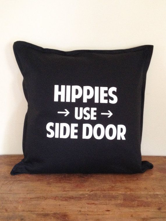 Hippies Use Side Door  Arrow Right  Black by DarkHorseWanderer, $48.00