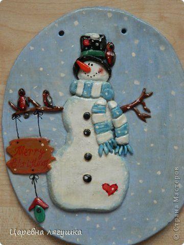 Поделка изделие Новый год Лепка Снеговики и подковы Гипс Гуашь Ленты Тесто…