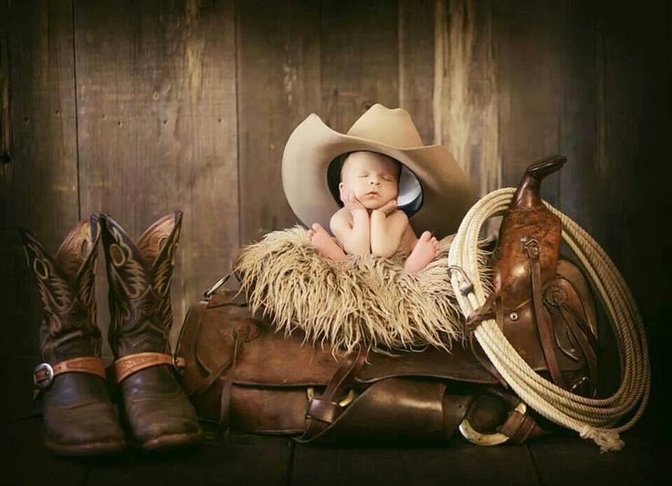 Cute cowboy newborn photo