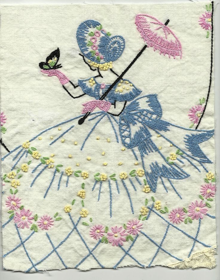 Vintage Southern Belle Embroidery Handwork Linens Hand Embroidered.