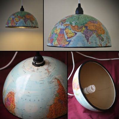 Great way to recycle an old globe - turn it into a pendant light. Shared by LassensLoves.com