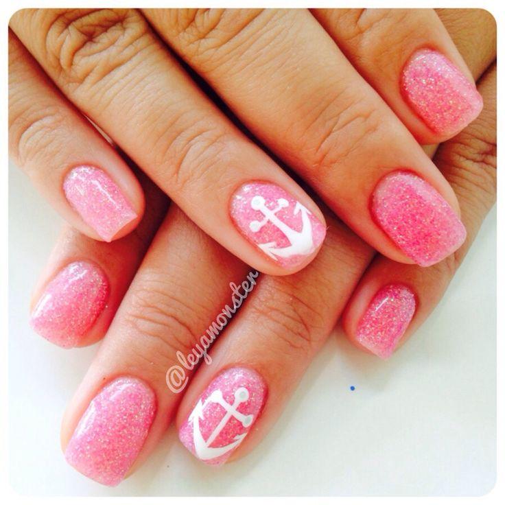 Nexgen/Dip nails with anchor accent fingers. ⚓️  Facebook:KattClawsIG:@leyamonster/@kattclawsStore:KattClaws.Bigcartel.ComTwitter:@Katt_Claws #prom nail art