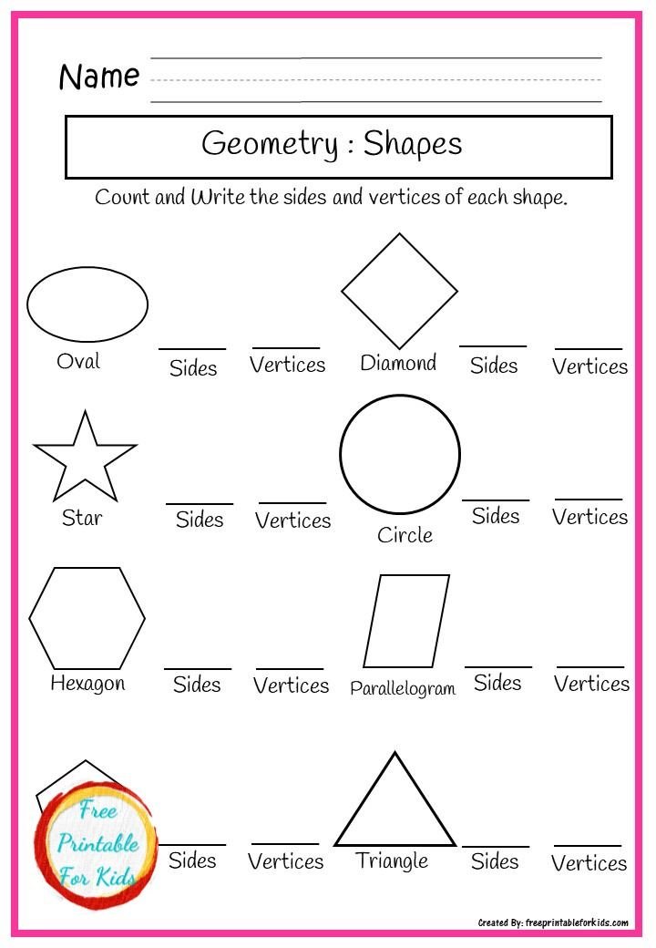 Geometry Shapes Practice Sheets For Second Grade Kids Worksheets Printables Printable Worksheets Worksheets For Kids