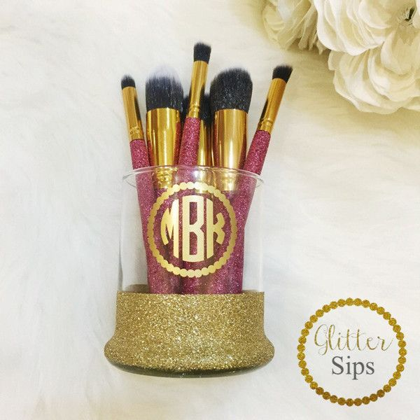 Personalized Glass Makeup Brush Holder & 6 Glittered Make Up Brushes... ($40) ❤ liked on Polyvore featuring beauty products, makeup, makeup tools, makeup brushes, bath & beauty, makeup & cosmetics, makeup tools & brushes, silver, mineral powder brush and mineral makeup brush