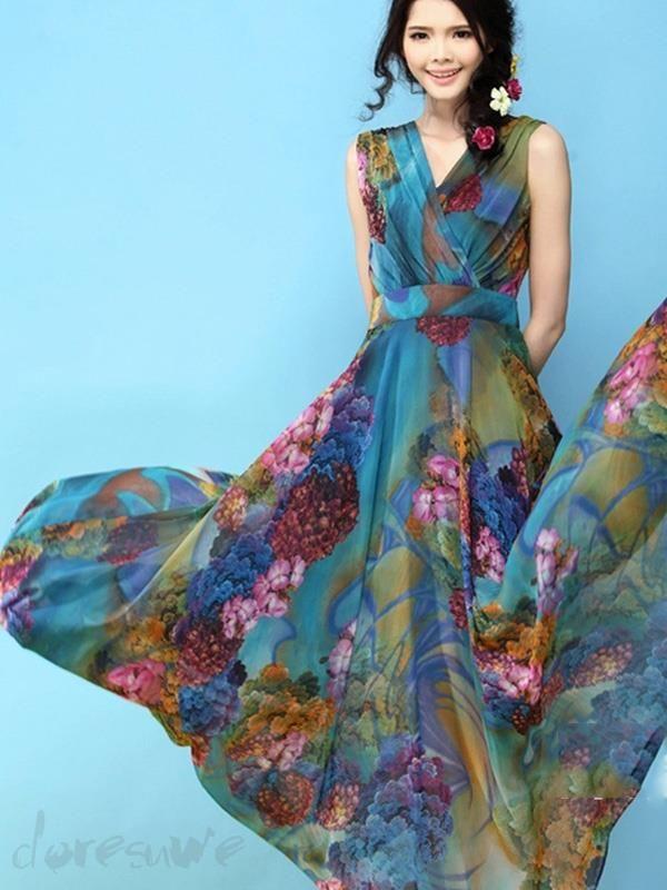 Doresuwe.com SUPPLIES 2015夏新しいファッションシフォン花プリントボヘミアンマキシワンピース  マキシワンピース