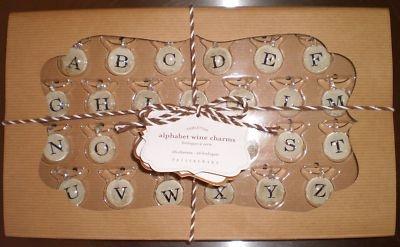 Details About Antique Silver Alphabet Wine Charms Set 26