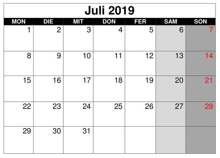 kalender zeitplan juli 2019 zum ausdrucken