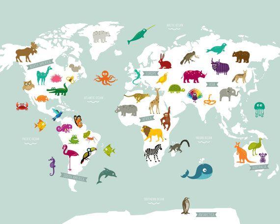 карта мира с картинками животных так замечтался