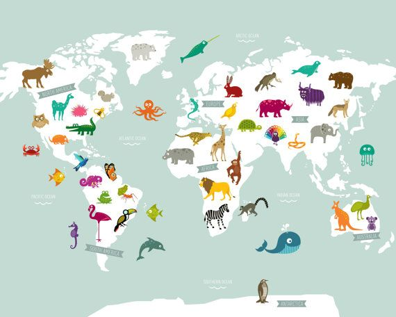11x14 Animal World Map Digital Print Nursery World Map