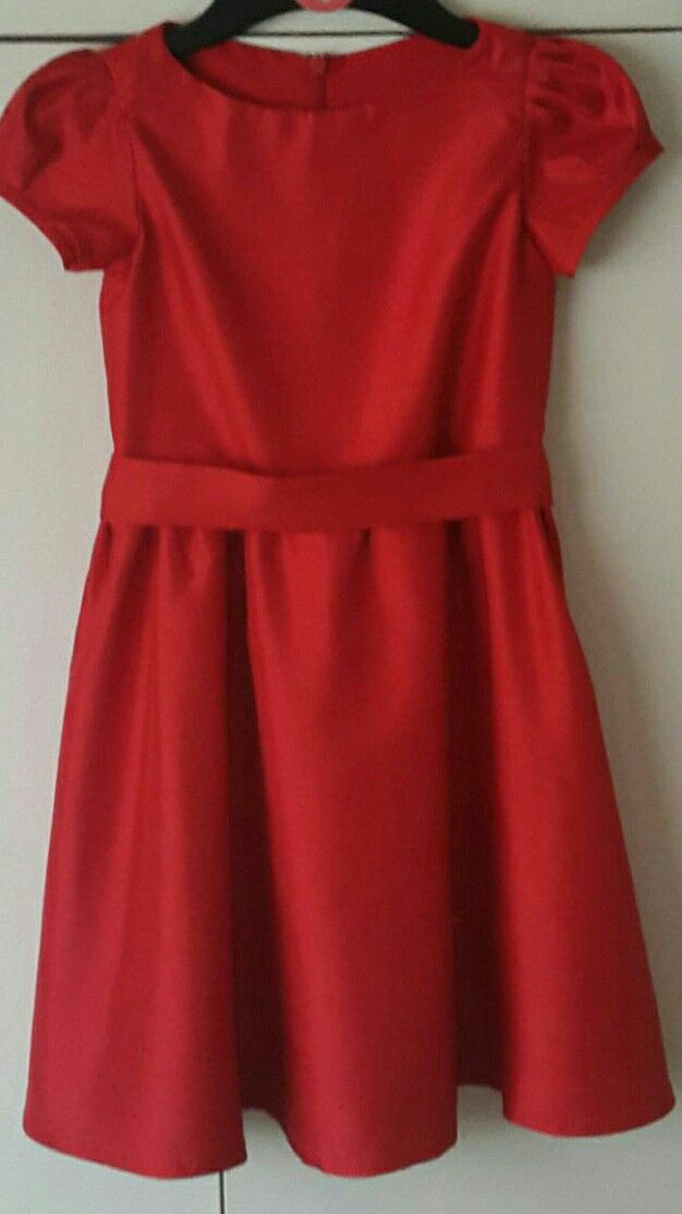 Girls red silk dress. Burda kids 9545