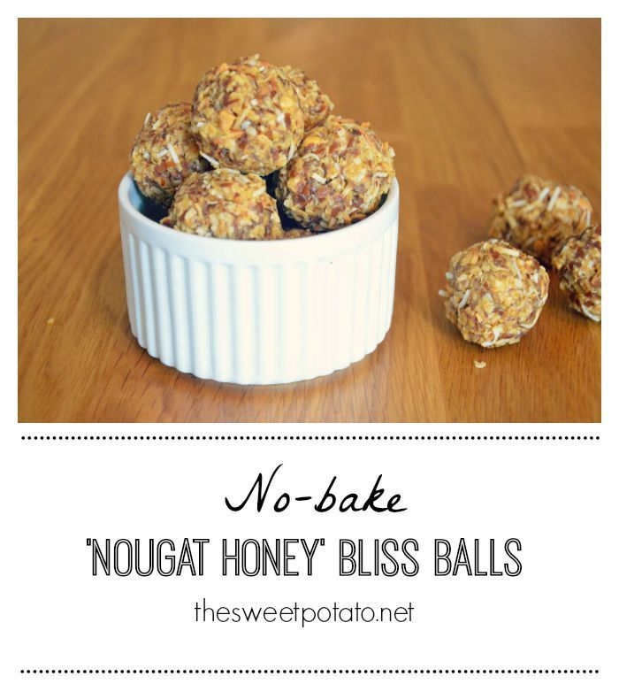 These healthy nougat honey bliss balls only take 10 mins to make and are the perfect energy snack.