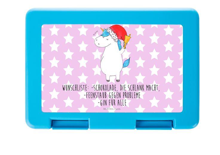 Brotdose Einhorn Weihnachtsmann aus Premium Kunststoff  schwarz - Das Original von Mr. & Mrs. Panda.  Diese wunderschöne Brotdose von Mr. & Mrs. Panda ist wirklich etwas ganz Besonderes - sie ist stabil, sehr hochwertig und mit einer exklusiven und schimmernden bedruckten Aluminiumplatte  ausgestattet.    Über unser Motiv Einhorn Weihnachtsmann  Das Weihnachtsmann-Einhorn ist viel besser als jeder aufwendig gestaltete Wunschzettel. Einfach dem Partner oder Freunden schenken und schon kennen…