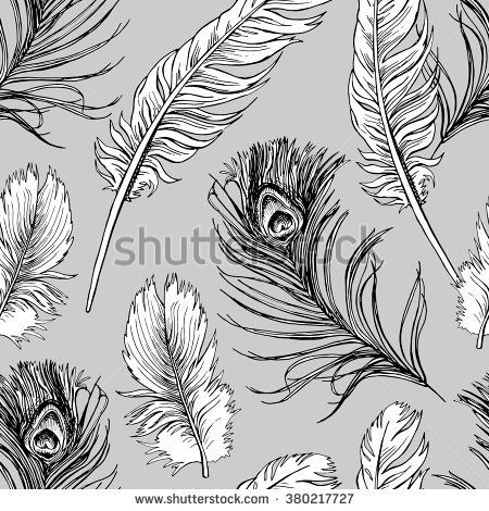 Seamless pattern with a different feathers on gray background. Vector illustration.