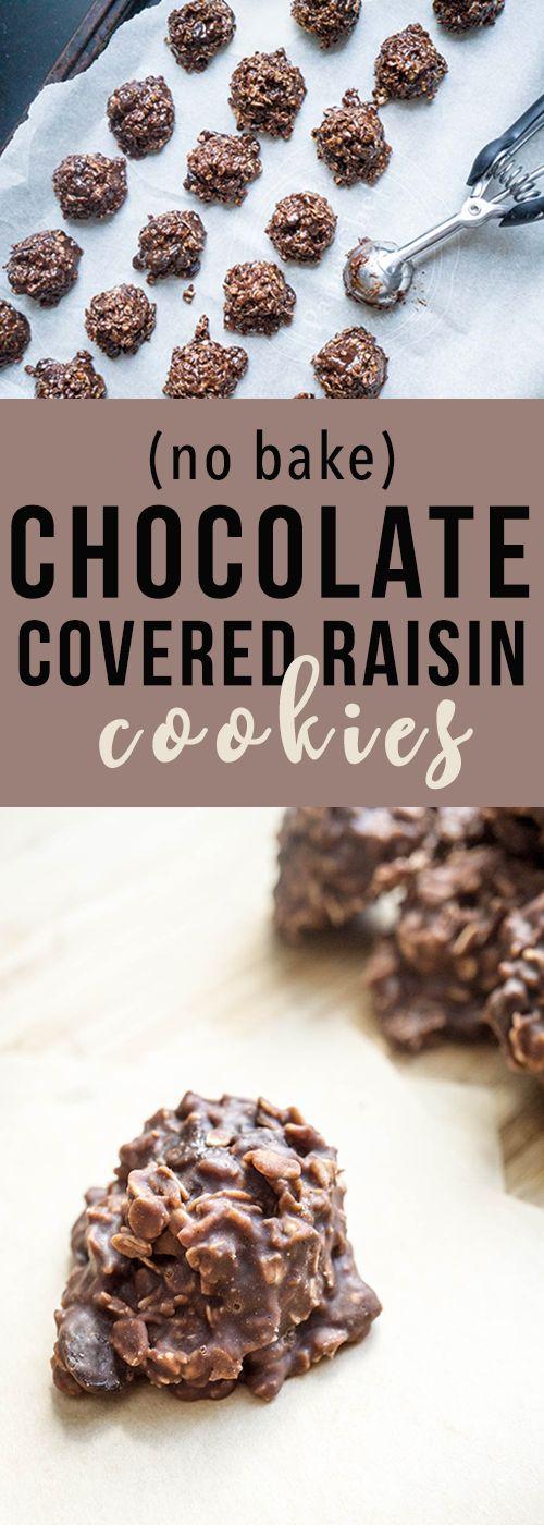 No bake chocolate covered raisin cookies! Guaranteed non-gritty! (Christmas Bake Mom)