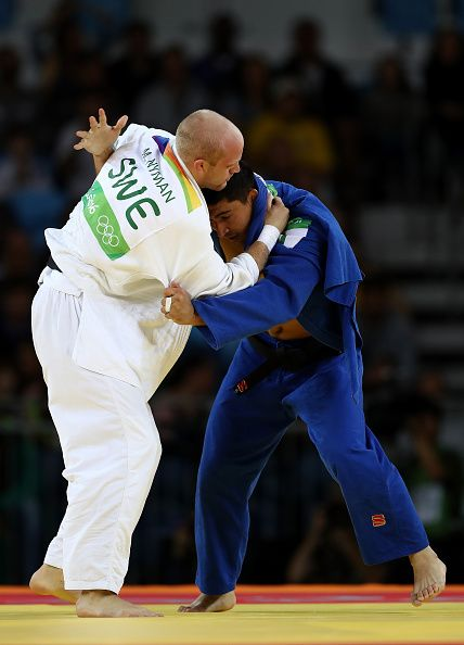 #RIO2016 Sherali Juraev of Uzbekistan competes against Marcus Nyman of Sweden during a Men's 90kg bout on Day 5 of the Rio 2016 Olympic Games at Carioca Arena...
