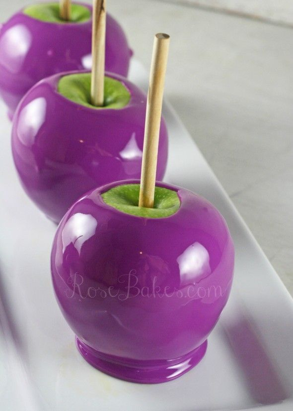 Purple candy apples: bewitching yet yummy.Candies Apples, Parties, Colors, Food, Witches Hats, Candy Apples, Purple Candies, Halloween Treats, Poison Apples