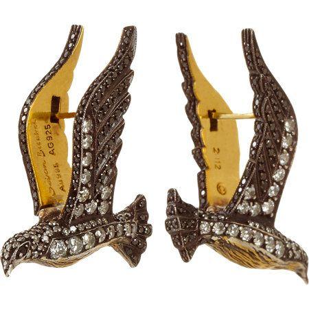 SEVAN BICAKCI Black & White Diamond Bird Earrings