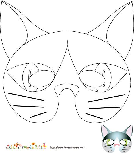 Imprimer le modele du masque de chat a colorier t te - Chat a colorier ...