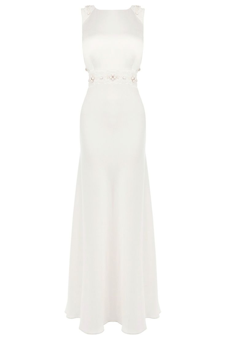 This clean lined dress is a sleek choice for a modern bride. Embellished with stunning sequins and pearl stones sewn onto a romantic lace at the waist the Tobey maxi dress has a cut-away back adding drama to the effortless design. For a flawless fit this dress has inserted bust pads that gives a seamless look. This fully lined dress is closed with a concealed side zip and is 50 inches in length from underarm to hem.