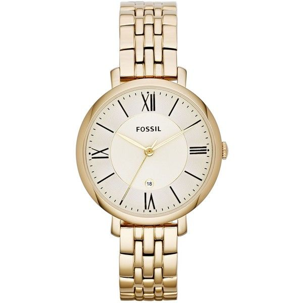 Fossil ES3434 JACQUELINE gold ladies watch ($185) ❤ liked on Polyvore featuring jewelry, watches, accessories, gold wrist watch, gold hinged bangle, fossil jewelry, gold wristwatches and bangle watches