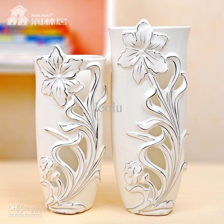 Rustic Ceramic Vase Decoration White Porcelain Crafts Home Vases ...