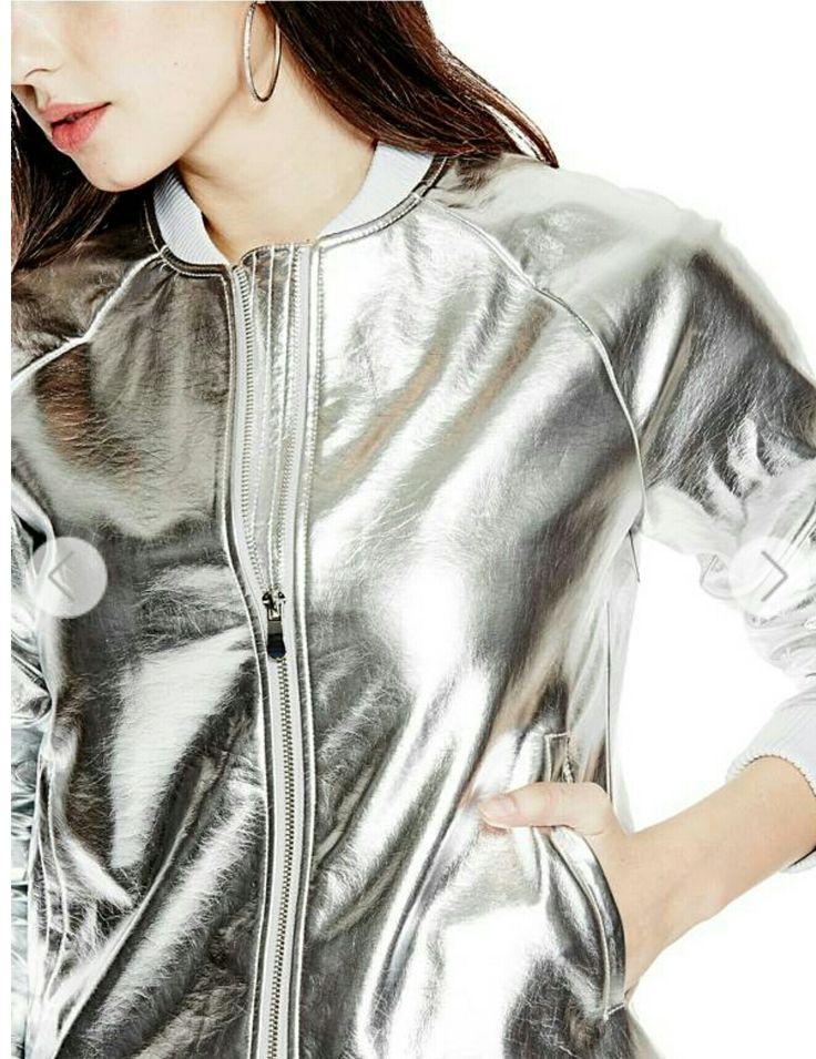 GUESS metallic silver bomber jacket, 2017