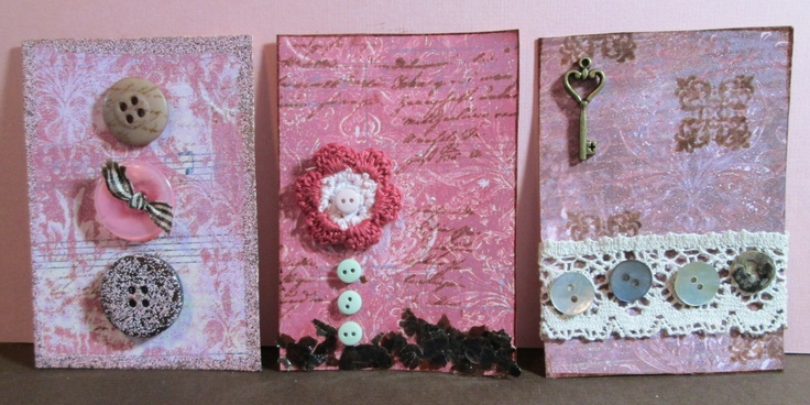 ATCs with Gelli print backgrounds