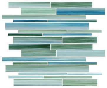 Blues and greens that remind me of the incredibly beautiful Caribbean Sea. Rip Curl Linear Glass Mosaic Tiles, by Rocky Point Tile.
