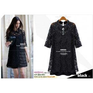 S1444 lace two-piece lapel dress-black