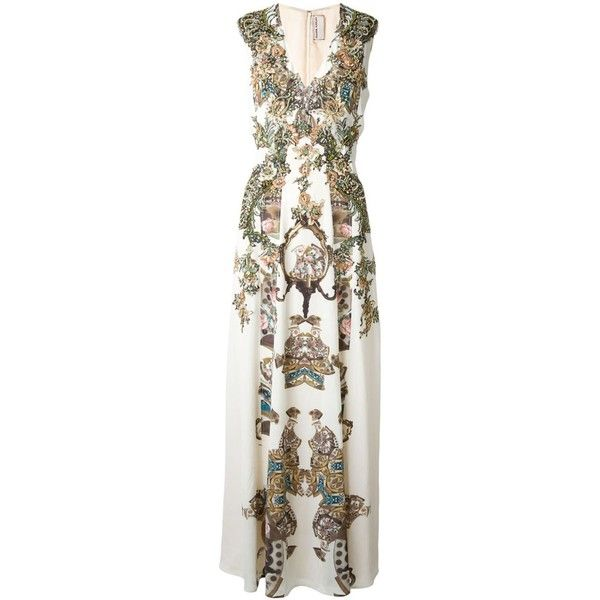 Antonio Marras Sequin Embellished Maxi Dress (9.075 BRL) ❤ liked on Polyvore featuring dresses, white, multicolored dress, multicolor sequin dress, maxi length dresses, multi colored maxi dresses and sequin embellished dress