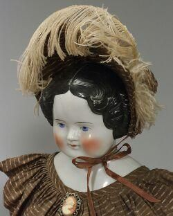 China Head Dolls Value   China Head Doll; German, Shoulder Head, Painted Eyes, Black Curly Hair ...