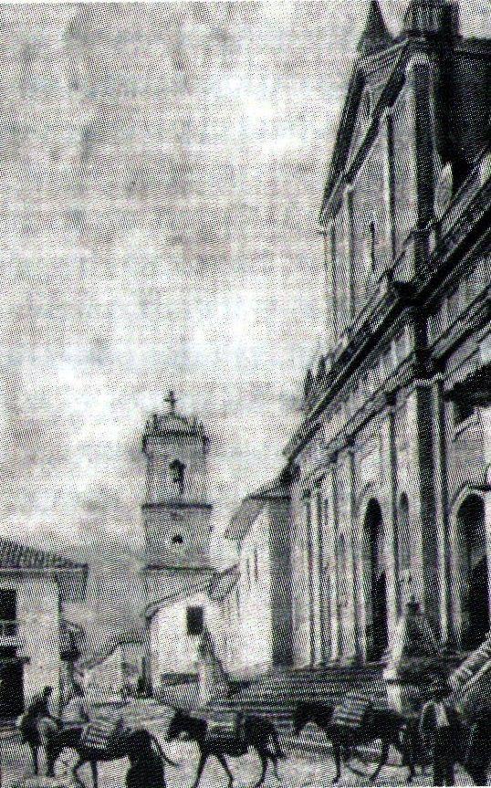 María Victoria Fory: CALI VIEJO - Memoria fotográfica. En esta fotografía podemos observar el aspecto que presentaba la Torre Mudéjar de Santiago de Cali, en 1897 cuando una recua de mulas era el único medio de transporte. Aparecen en la vieja plazoleta de San Francisco. Año 1897. Fuente Revista Occidental