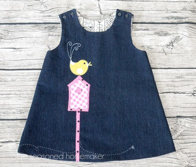 This simple a-line dress can be appliquéd with just about anything you can dream up. A-Line Dress for Baby Girl - The Seasoned Homemaker