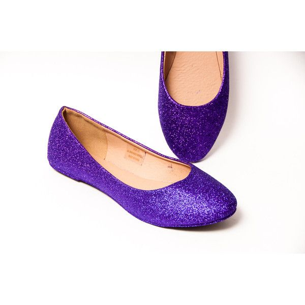 Glitter Passion Purple Ballet Flat Slipper Shoes ($50) ❤ liked on Polyvore featuring shoes, flats, ballet shoes, silver, slip ons, women's shoes, silver flats, slippers shoes, silver shoes and purple ballet flats