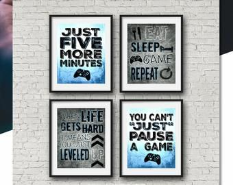 Boys bedroom Gaming – SET OF FOUR Video Game Prints Xbox Yellow 8×10 A4 Xbox Controller Xbox Bedroom Gamer Teen boy bedroom game room wall art