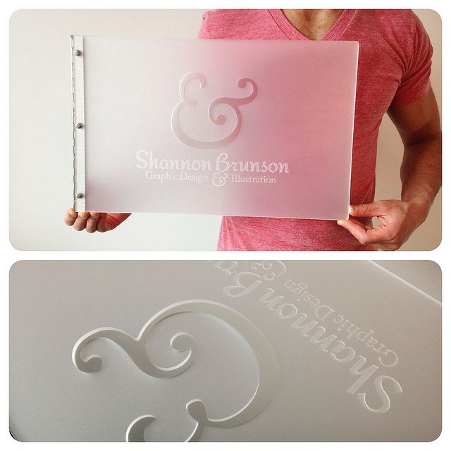 Custom Graphic Design Portfolio Book  Frsoted Clear Acrylic With Engraving  And Cut Out Treatments
