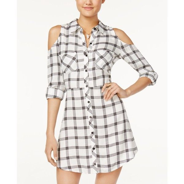 Material Girl Juniors' Plaid Cold-Shoulder Shirtdress, (£45) ❤ liked on Polyvore featuring dresses, cloud dancer, white dress, white cut out dress, plaid dress, white day dress and long white shirt dress