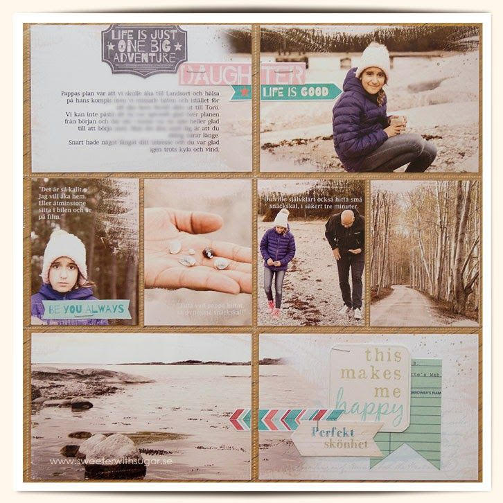 Project life hybrid page. Pocket scrapbooking, Clean and slimple-ish. digital scrapbooking kits used as printed elements.