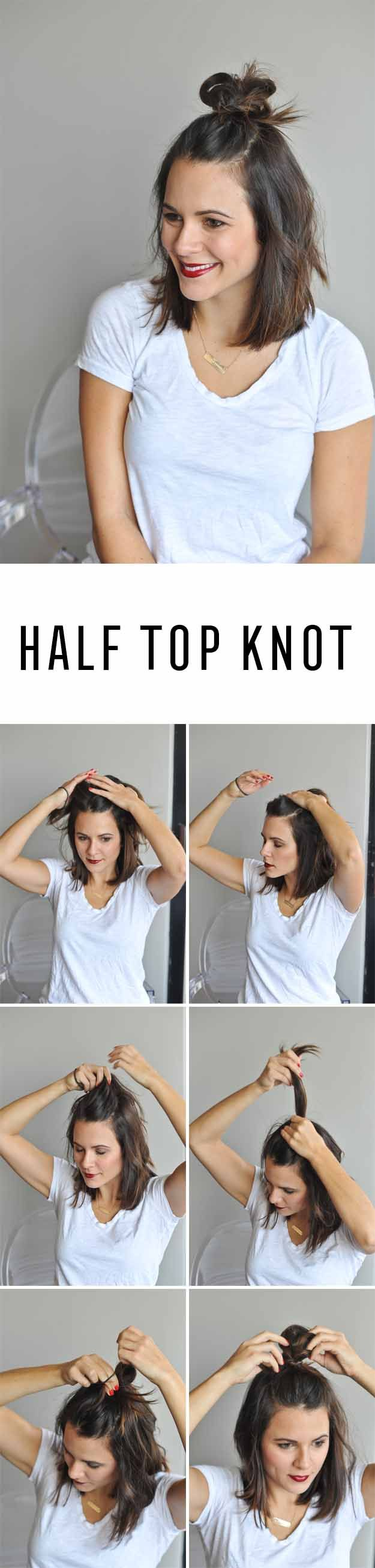 Short Hair Styles You Can Do In 10 Minutes or Less - Half Top Knot - Easy Step By Step Tutorials For Growing Out Your Hair, For Shoulder Length Hair, For The Undo, The Pixie, For Round Faces, The Bob, For Women That Are White And African American. For Over 50, For Over 40, For Wedding, And With Bangs - http://thegoddess.com/quick-short-hair-styles